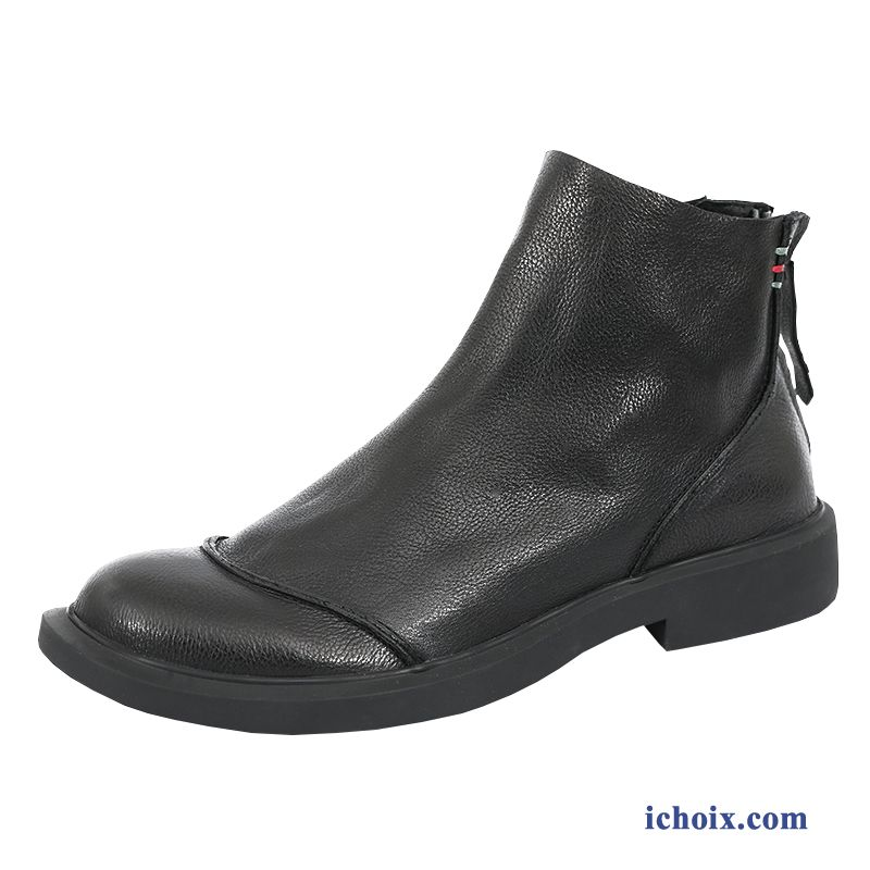 Bottes Homme Cuir Véritable Bout Rond Mode Angleterre En Cuir Hiver