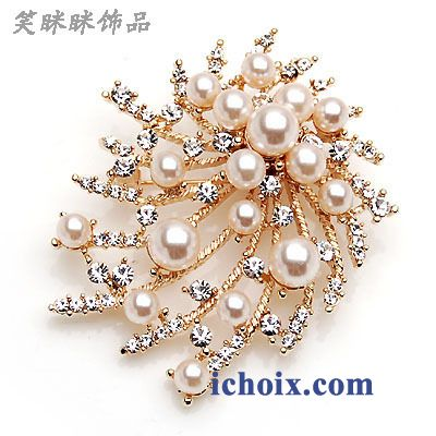 Broche Gros Collier Femme Perle Corsage Cristal
