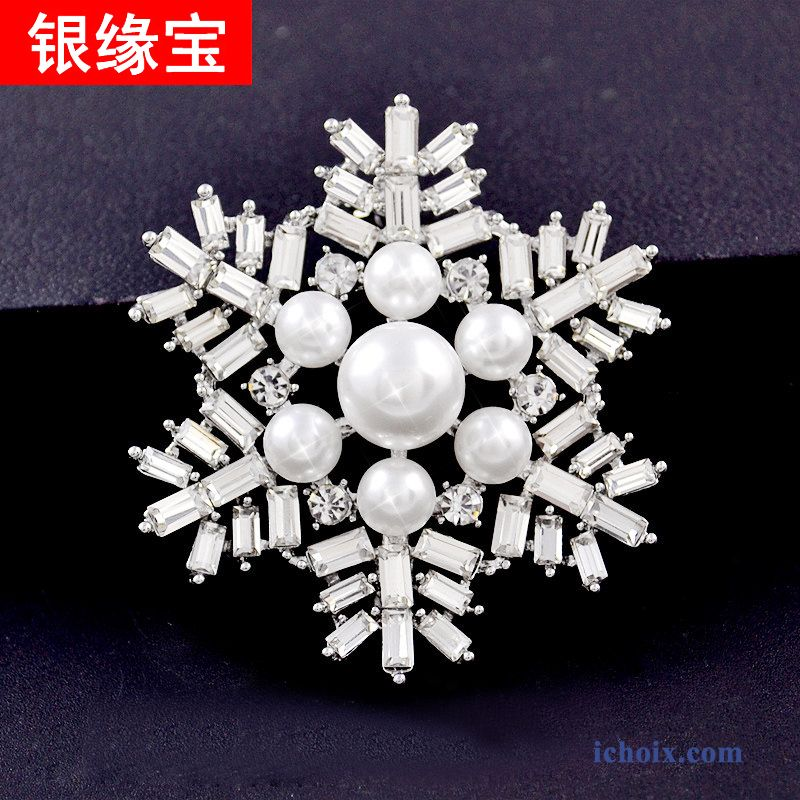 Broche Simple Collier Perle Femme Flocon De Neige Corsage