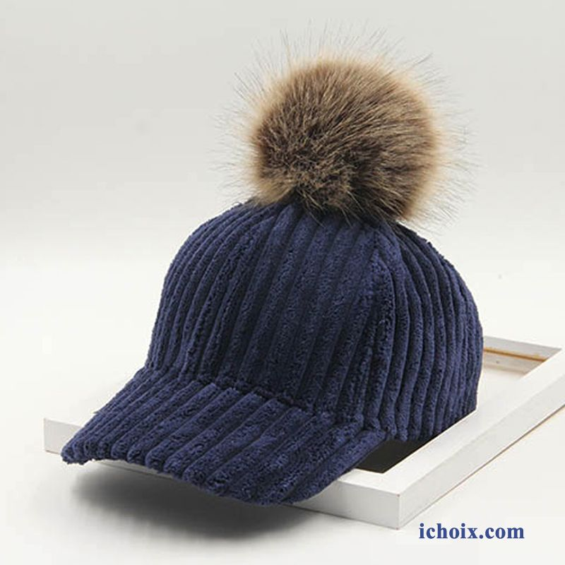 Casquette Chapeau Hairball All-match Velours Femme Hiver