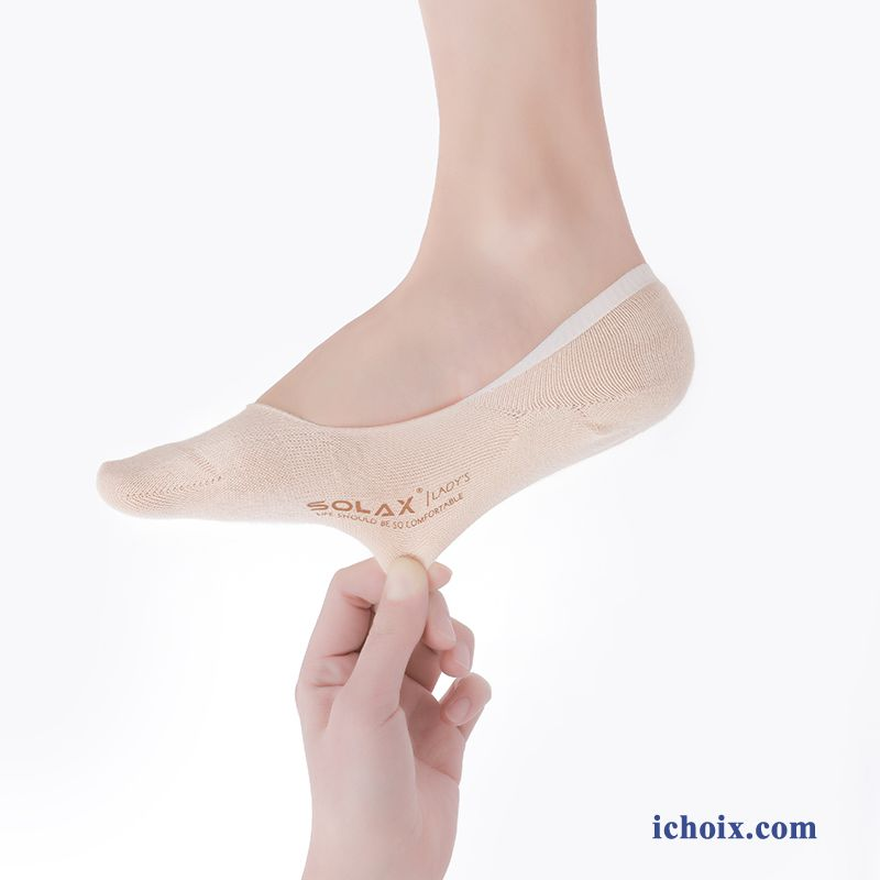 Chaussette Femme Invisible Beige Bouche Peu Profonde Charmant Section Mince Antidérapant