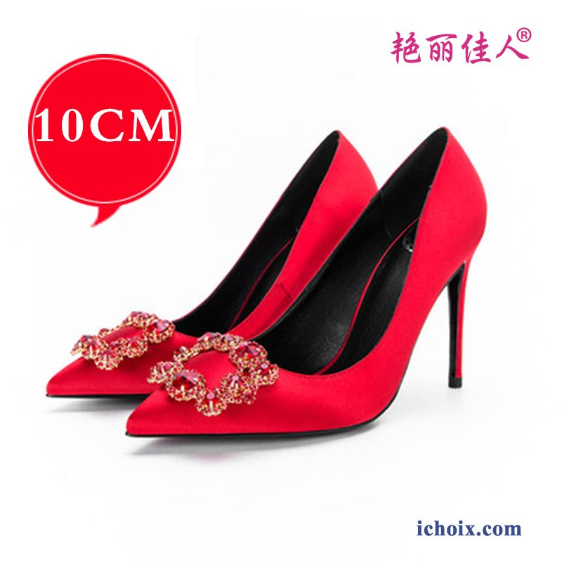 Escarpins Femme Printemps Derbies Argent Pointe Pointue Imitation Strass Rouge