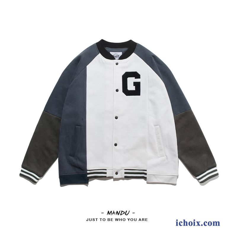 Femme Veste Printemps Gris Vêtements De Baseball Manteau Baggy Étudiant