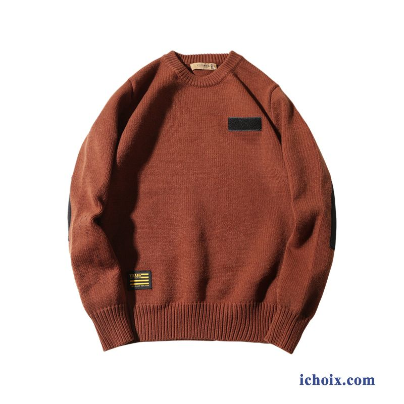 Pull Col Rond Homme Tendance Knitwear Rétro Hiver