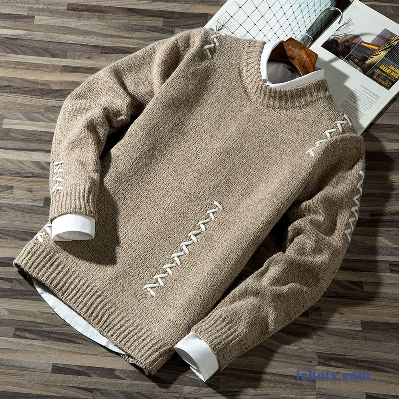 Pull Homme Col Rond Hiver Tendance Frais Knitwear