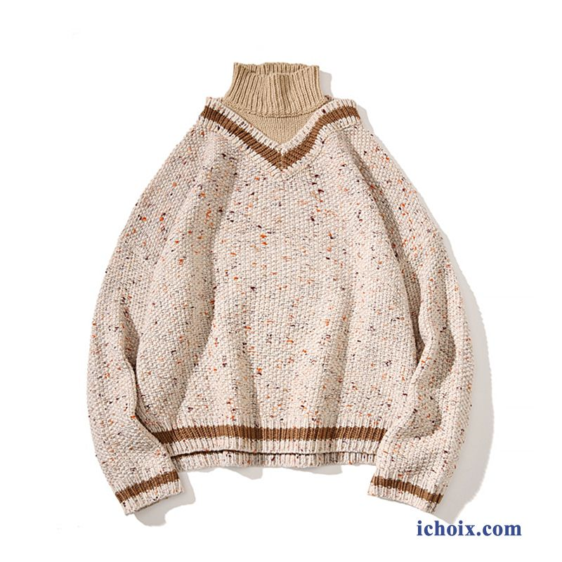 Pull Les Adolescents Hiver Homme Knitwear Blanc Col Haut