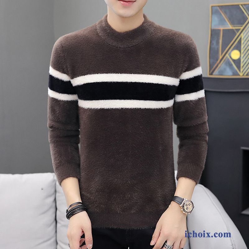 Pull Marron Homme Knitwear Slim Hiver Rayé