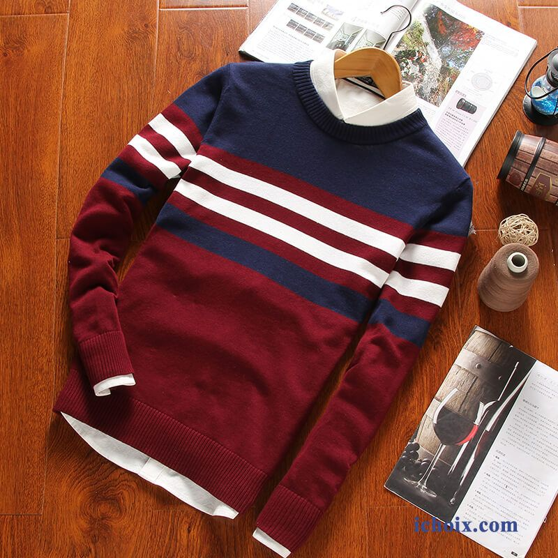 Pull Tendance Col Rond Knitwear Outwear L'automne Homme