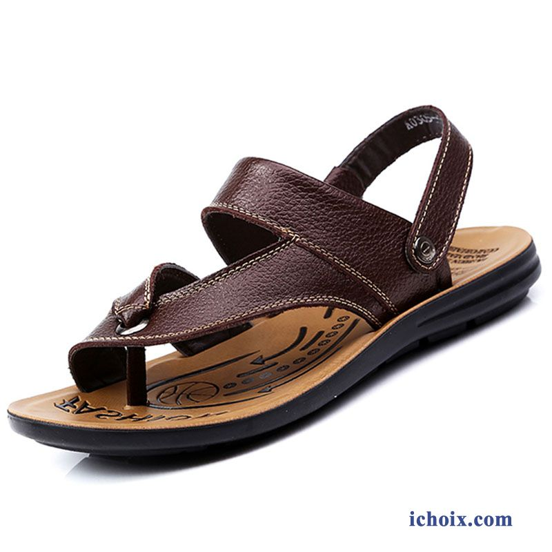 Sandales Outwear Été Homme Marron Tongs Plage