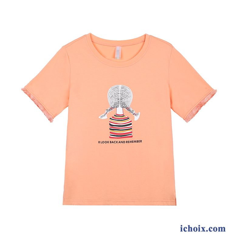T-shirt Femme Baggy Été Étudiant Les Adolescents Orange Court