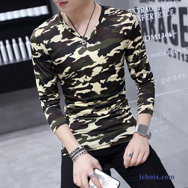 T-shirt Long Homme Camouflage Une Veste Printemps Slim Moulant