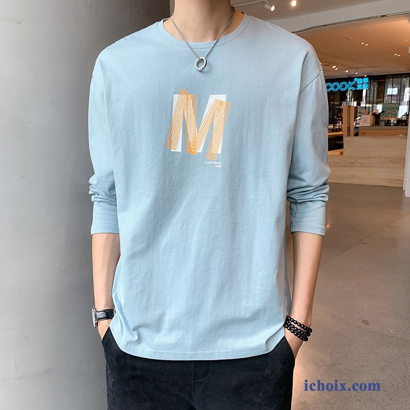T-shirt Long Homme Pure Mode Printemps Bleu T-shirt Longues