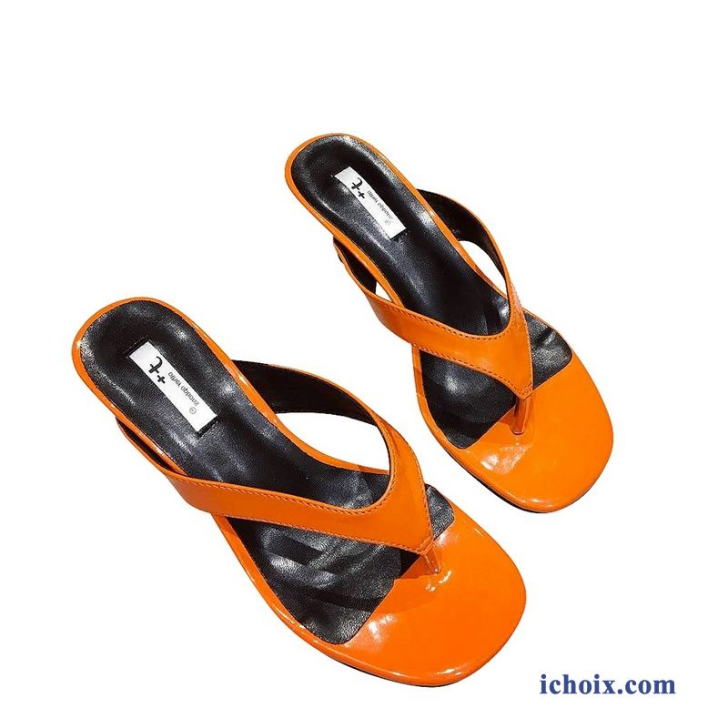 Tongs Orange Outwear Femme Mesh Tendance Minces